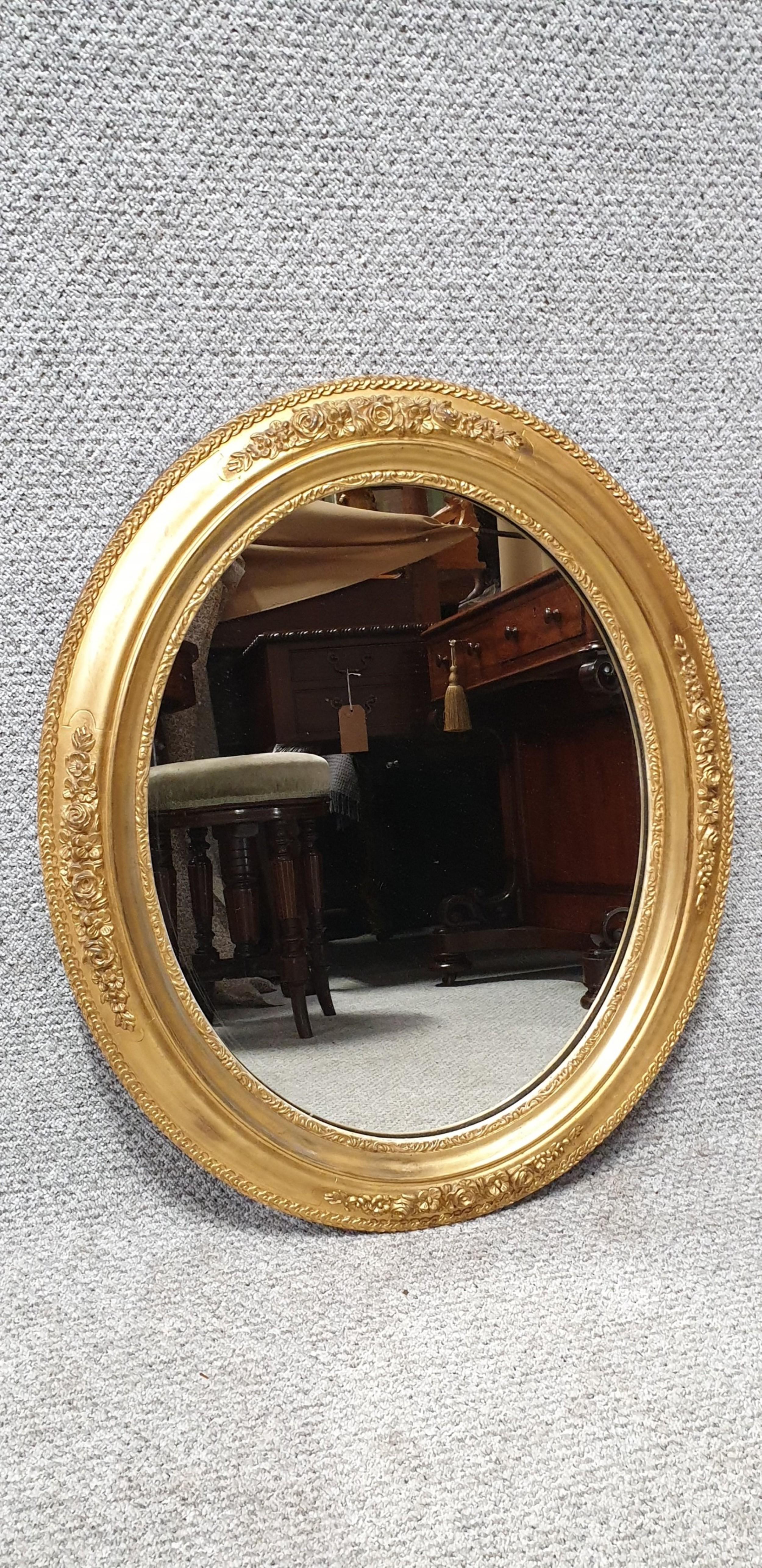 pretty english gilt oval mirror
