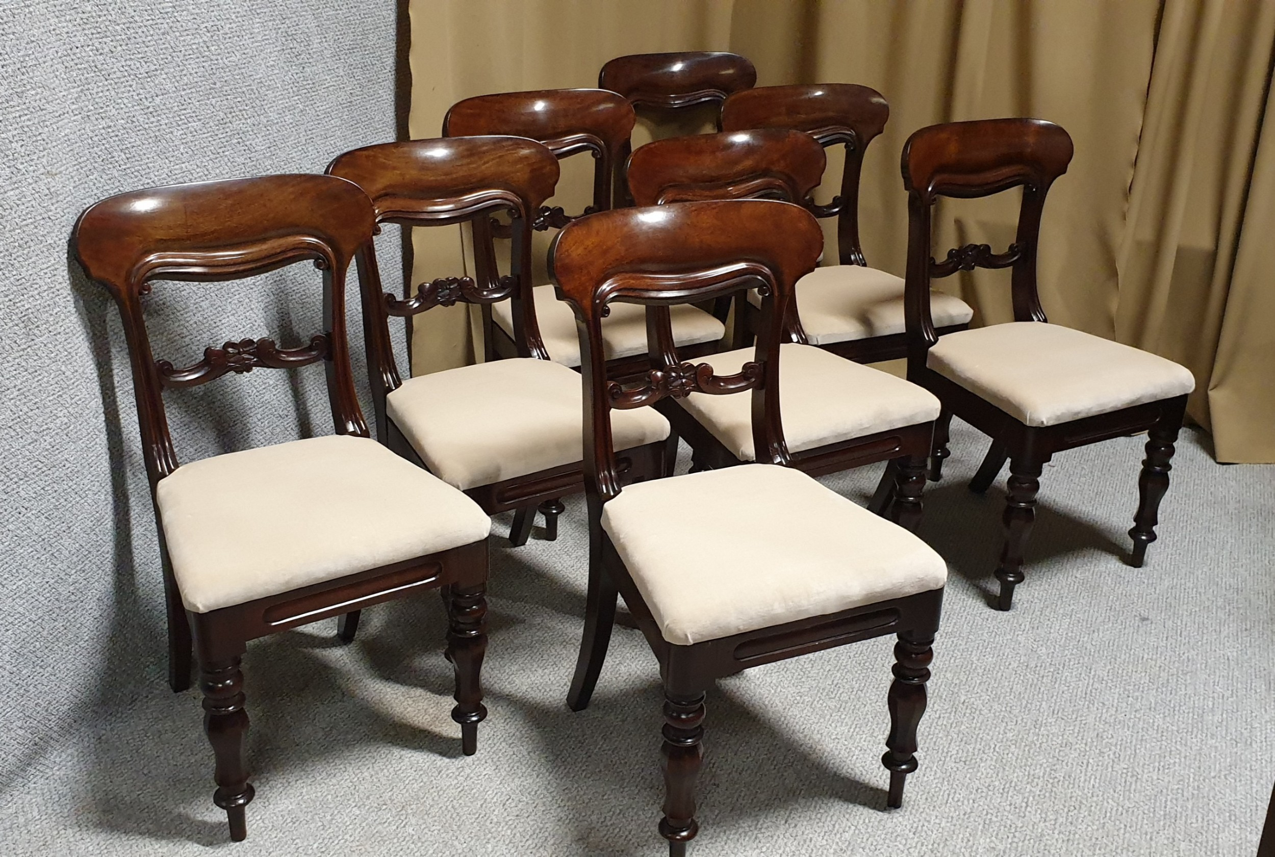 superb quality set eight mahogany dining chairs