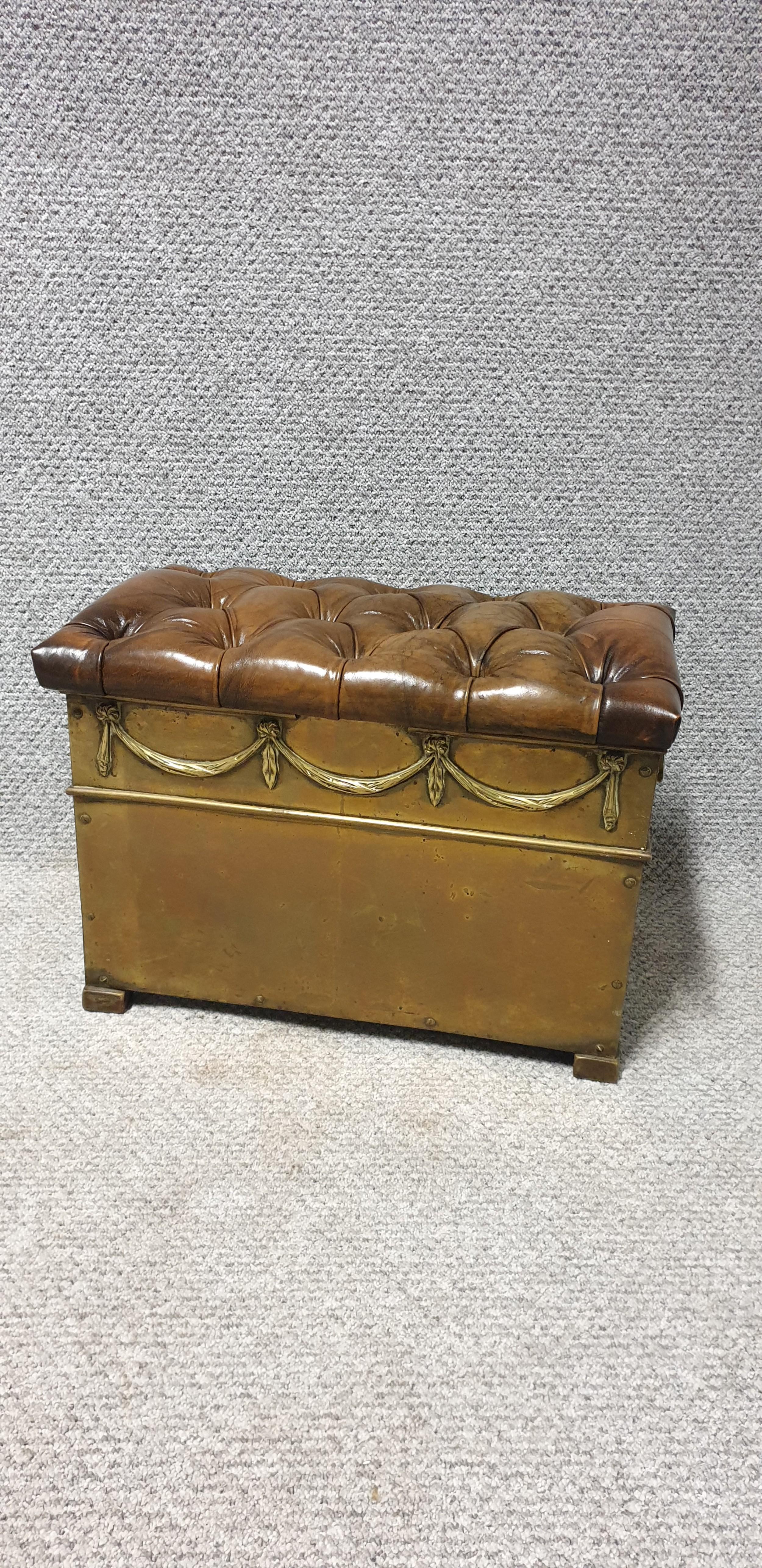 victorian brass log bin leather top
