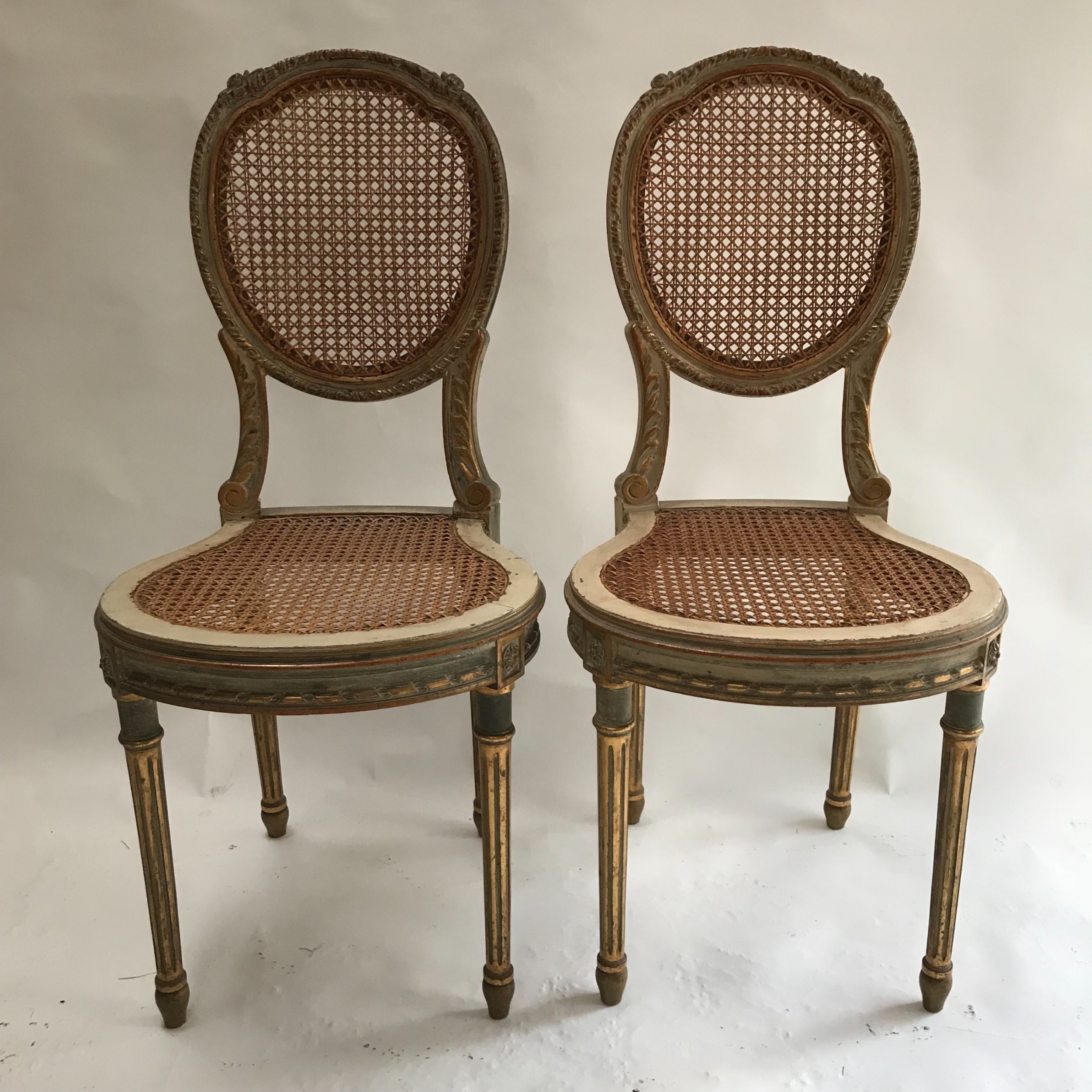 5046b51796d1 Stunning Pair Of French Painted Chairs