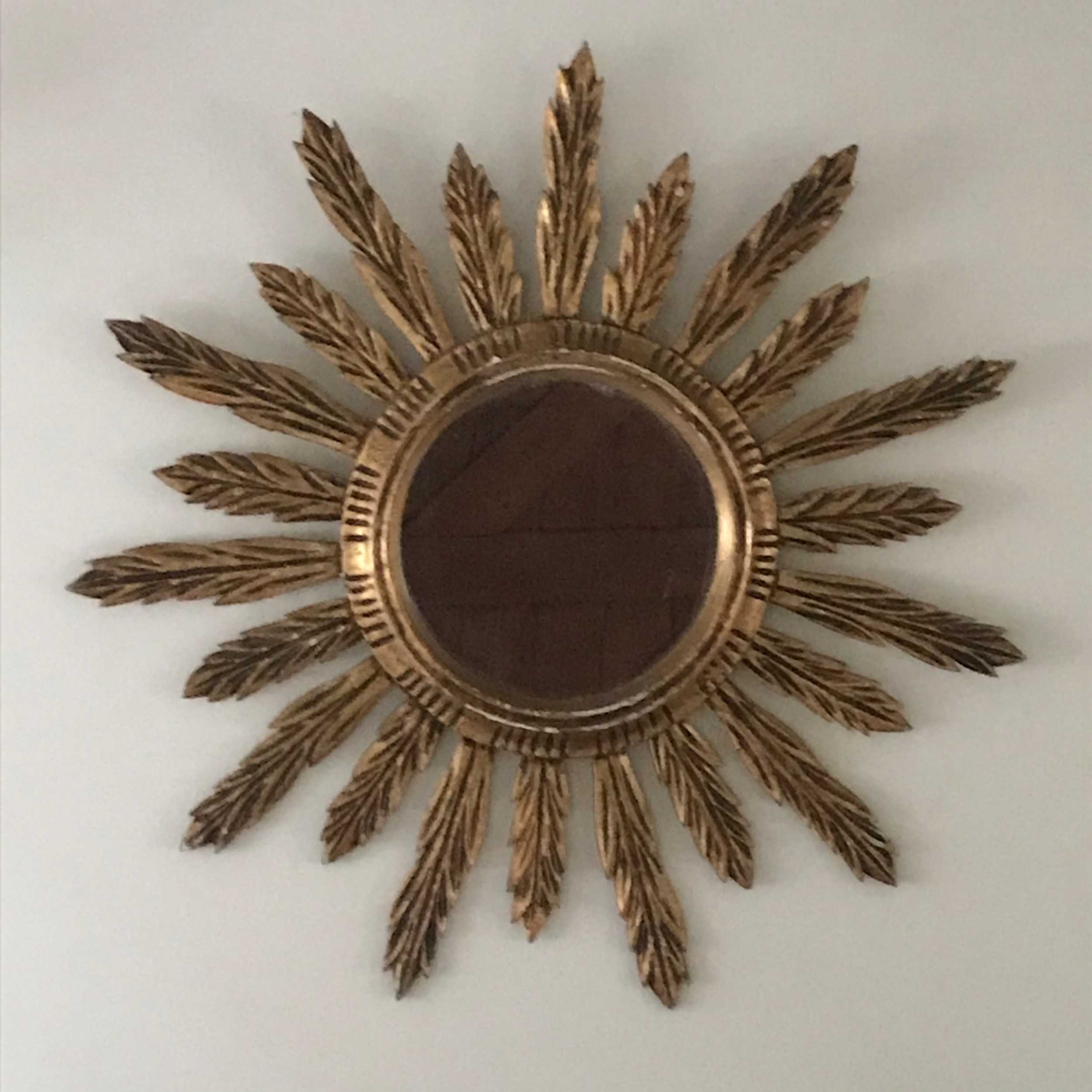 french large gilded wooden sunburstmirror