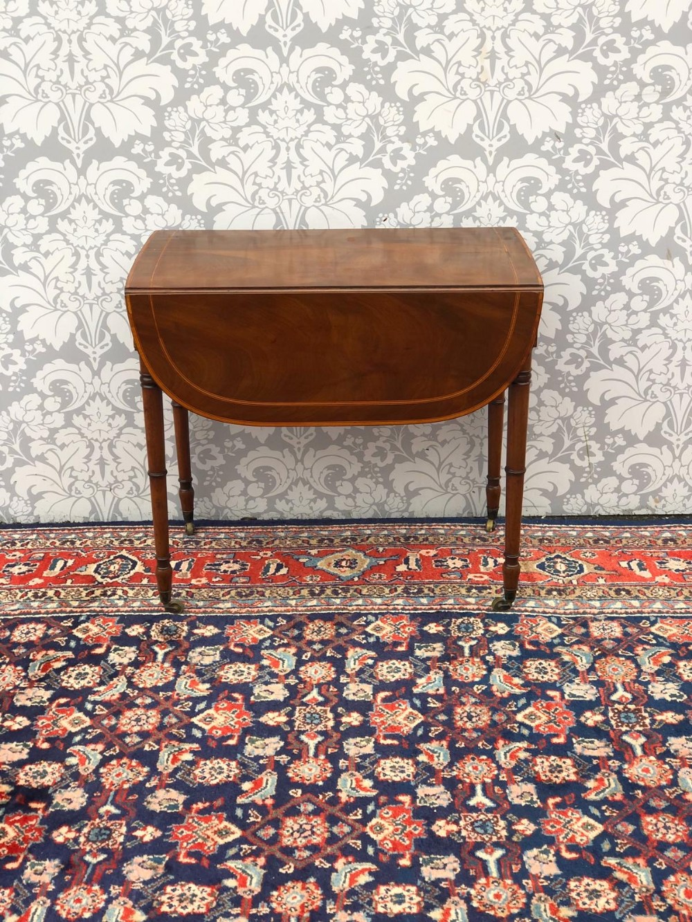 a very fine mahogany inlaid pembroke table drop leaf very fine fine quality all original