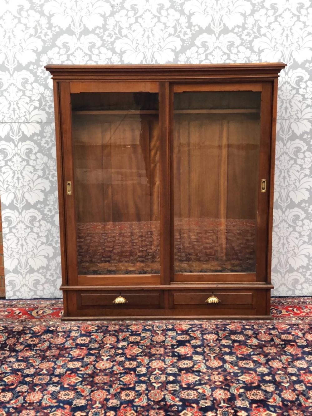 victorian 2 door glazed original gun cabinet in great order polished