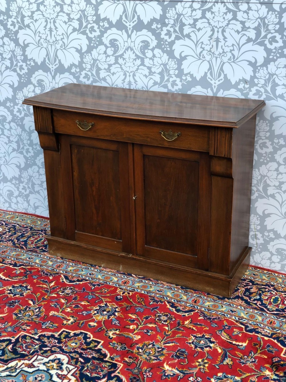 victorian stained mahogany two door sideboard small size original