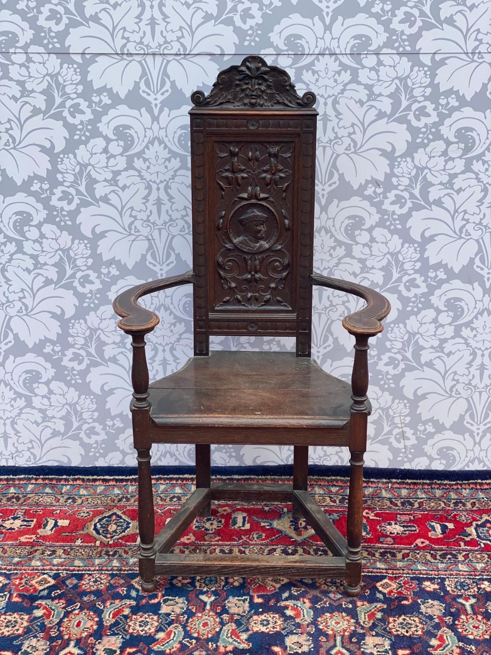 superb solid oak gothic heavily carved hall chair victorian