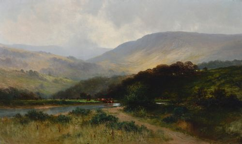 MAGNIFICENT LARGE LANDSCAPE OIL BY F CARTER (1853-1934) , antique folk art paintings, ebay fine art paintings,