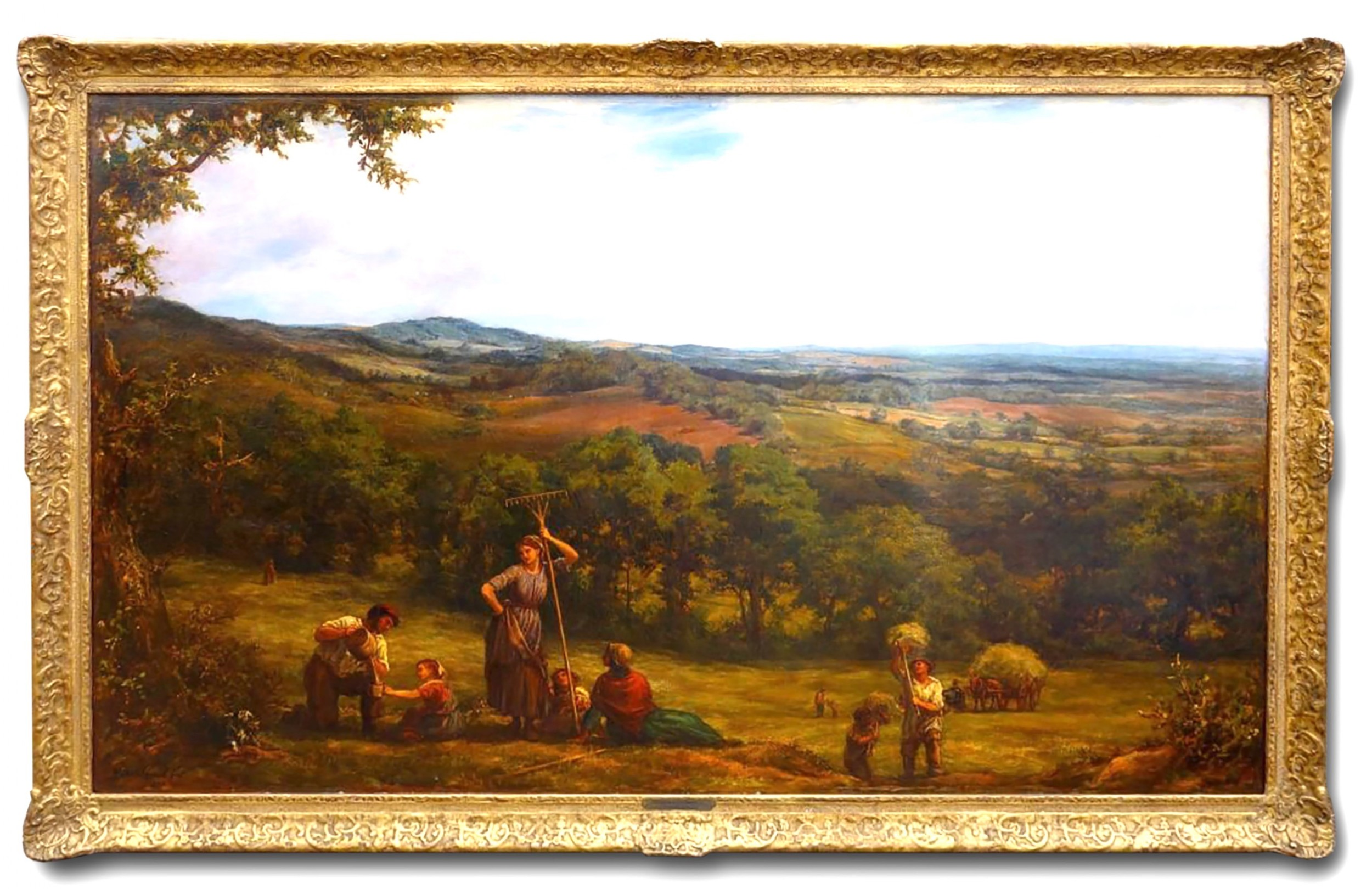 large 19th century landscape 'harvesting' by linnell england c 1877