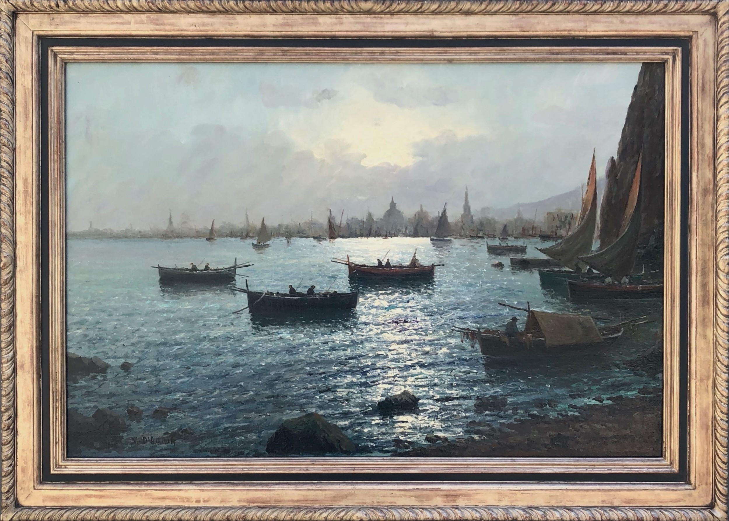 oil painting seascapeharbour scene with city in background italian early 20th1900