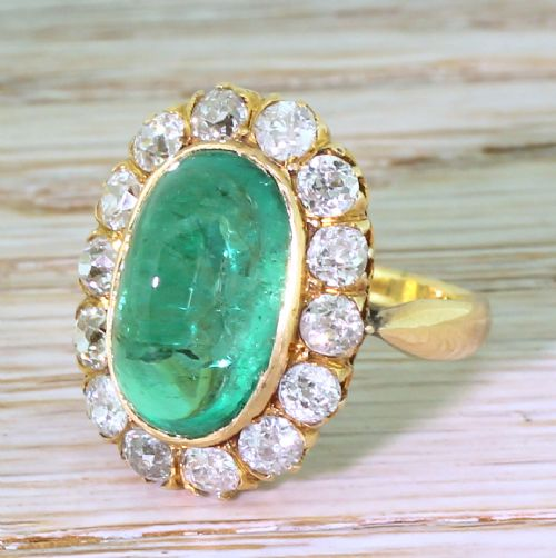 art deco 643 carat colombian cabochon emerald diamond cornet cluster ring circa 1920