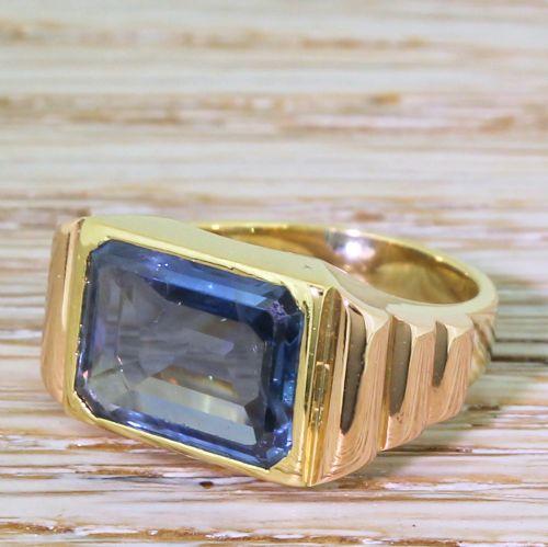 art deco 500 carat emerald cut natural sapphire solitaire ring circa 1920