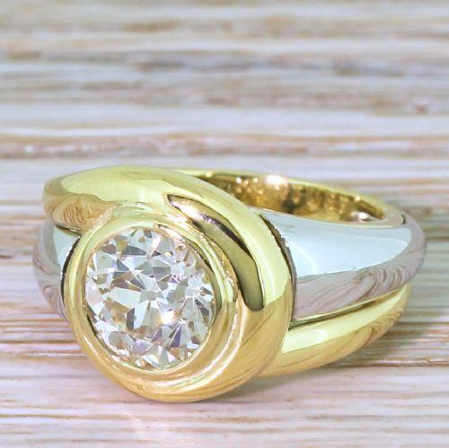mid century 204 carat old european cut diamond solitaire ring