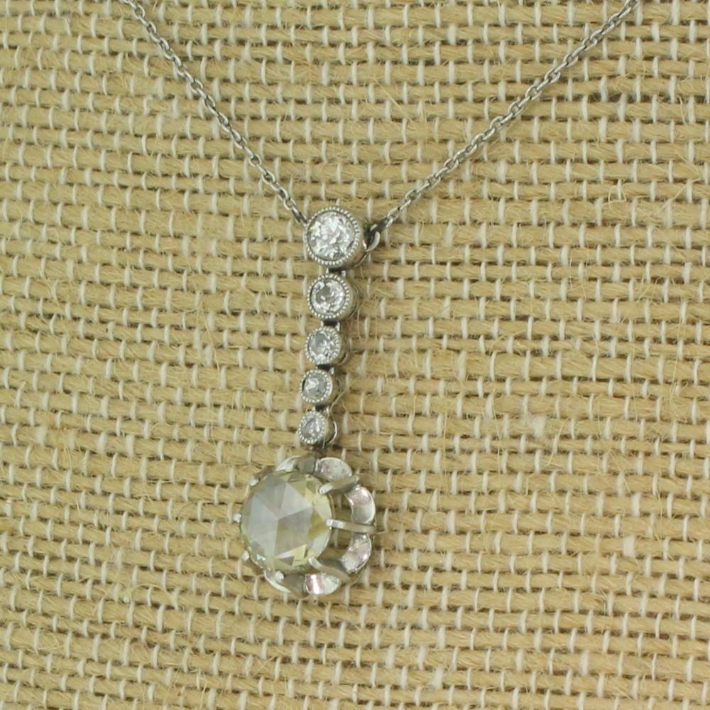 mid century 163 carat rose cut old cut diamond drop necklace circa 1950