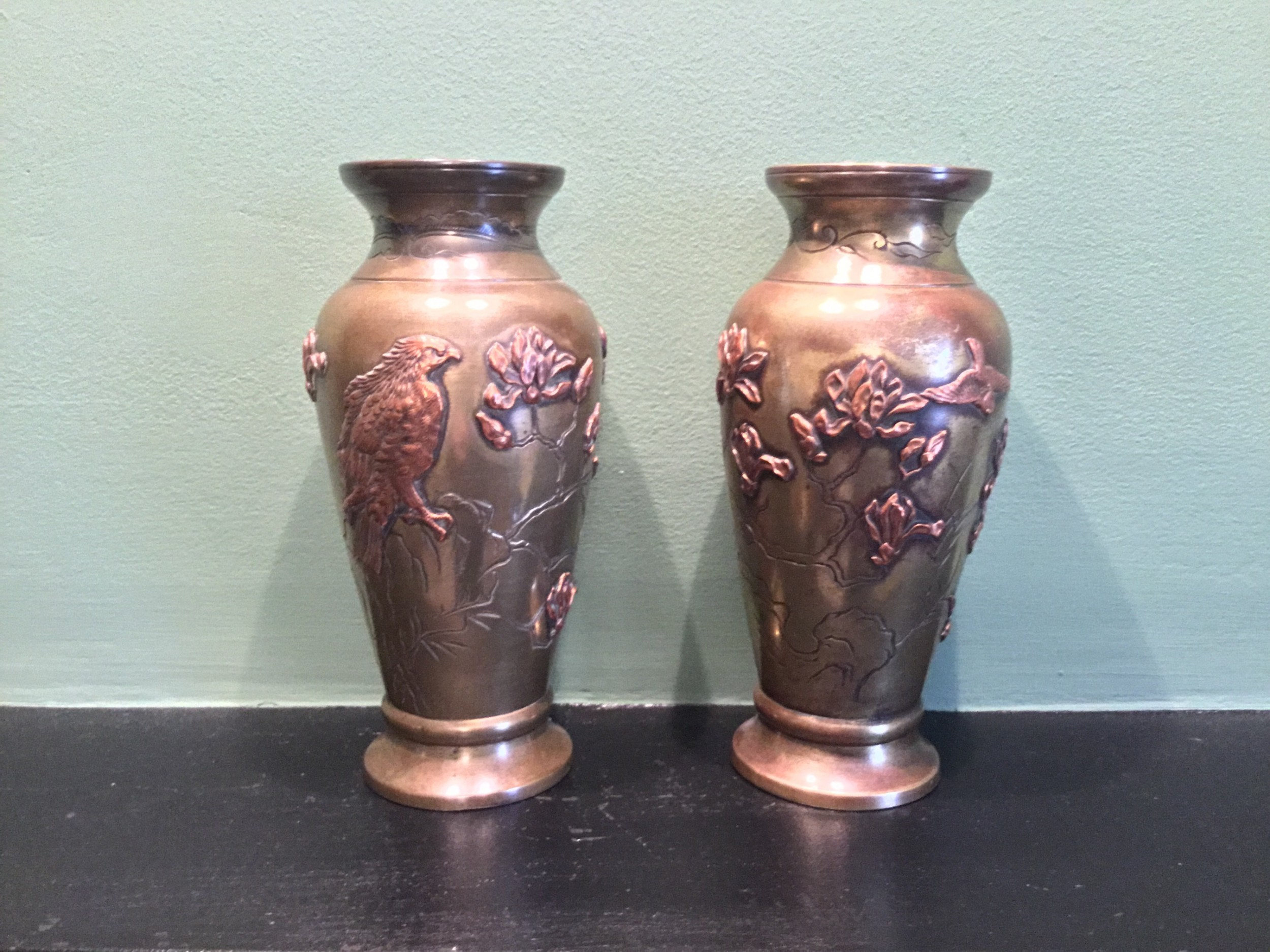 a pair of japanese meiji period mix copper and metal vases
