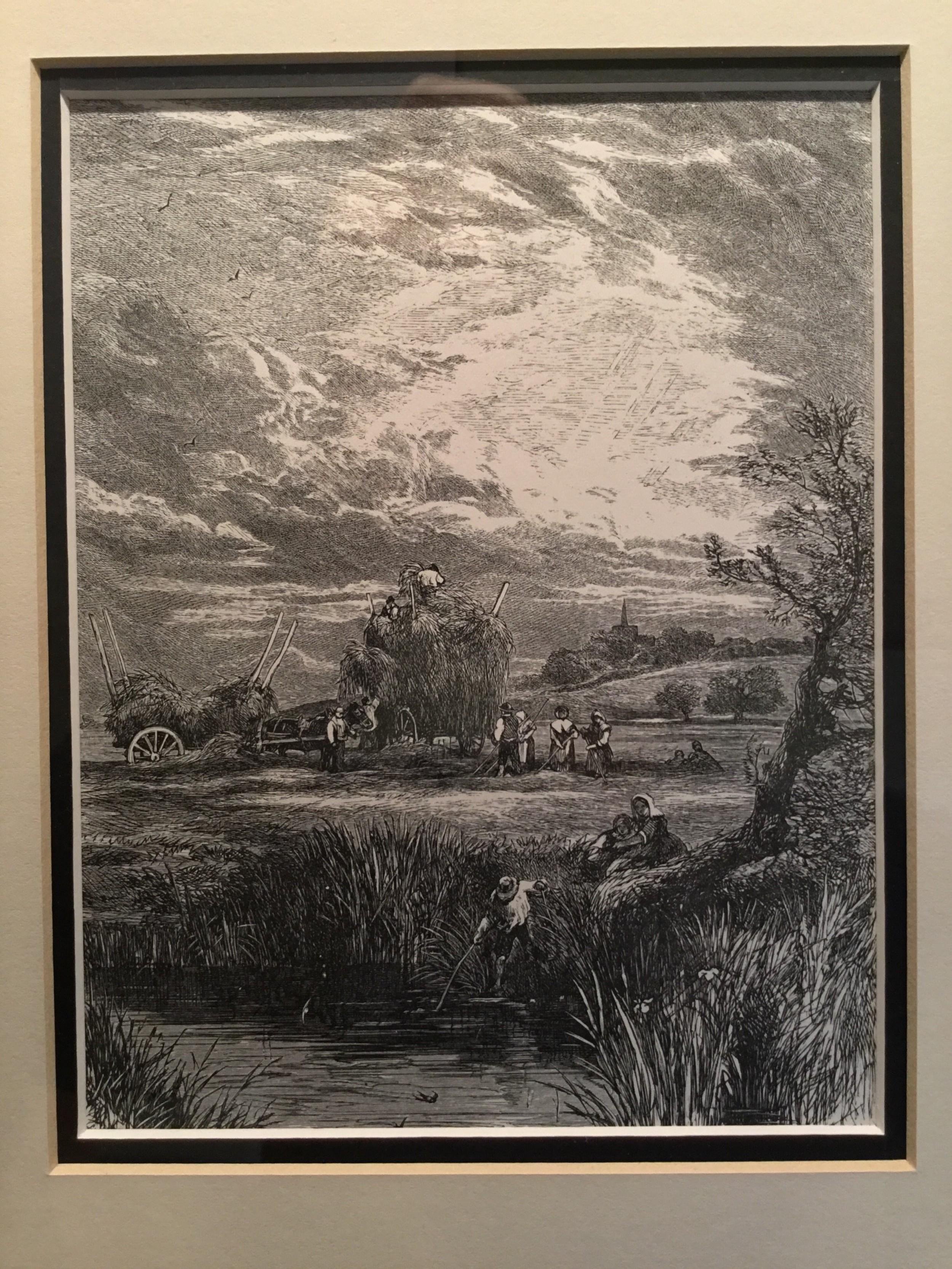 the hay field woodblock engraving after myles birket foster c 1863