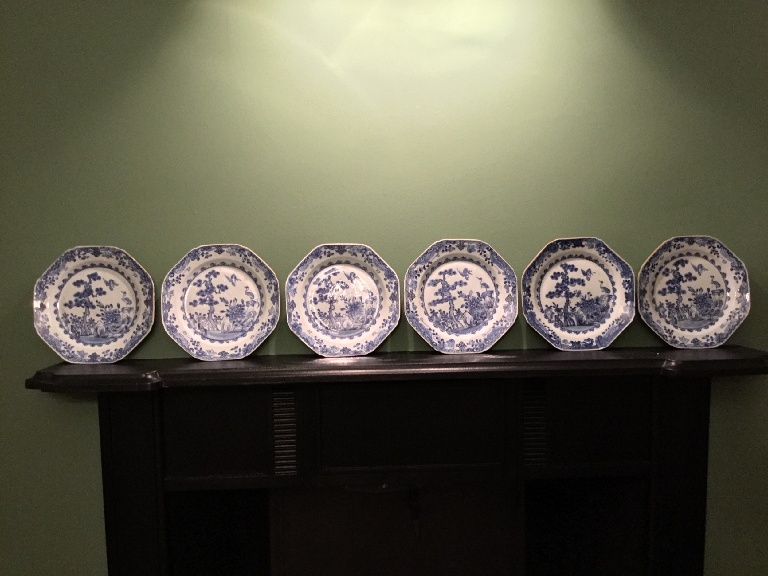 a set of six chinese octagonal blue and white plates manufactured c 1770