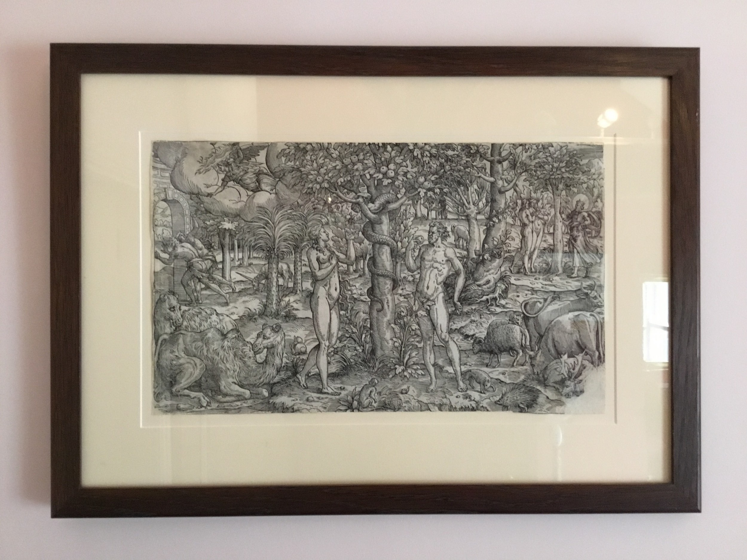 adam and eve in the garden of eden a 16th century print