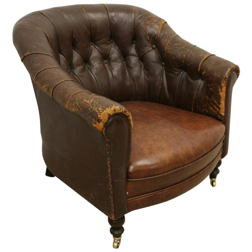 victorian brown leather tub chair 383516 sellingantiques co uk