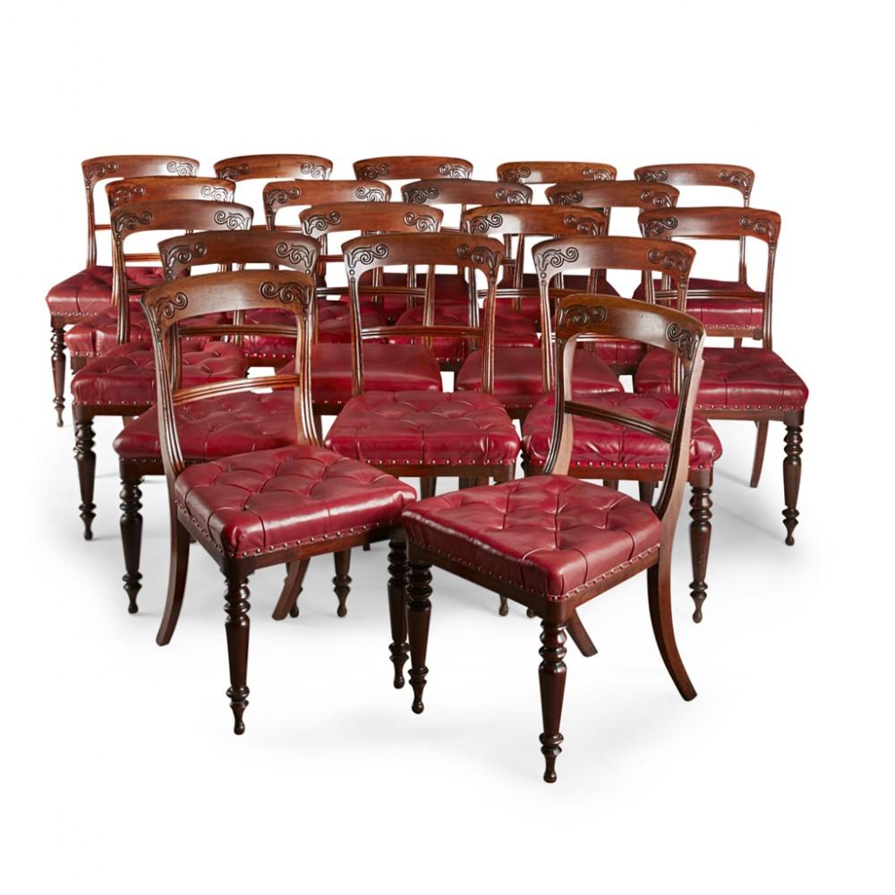 set of 20 william iv scottish mahogany dining chairs