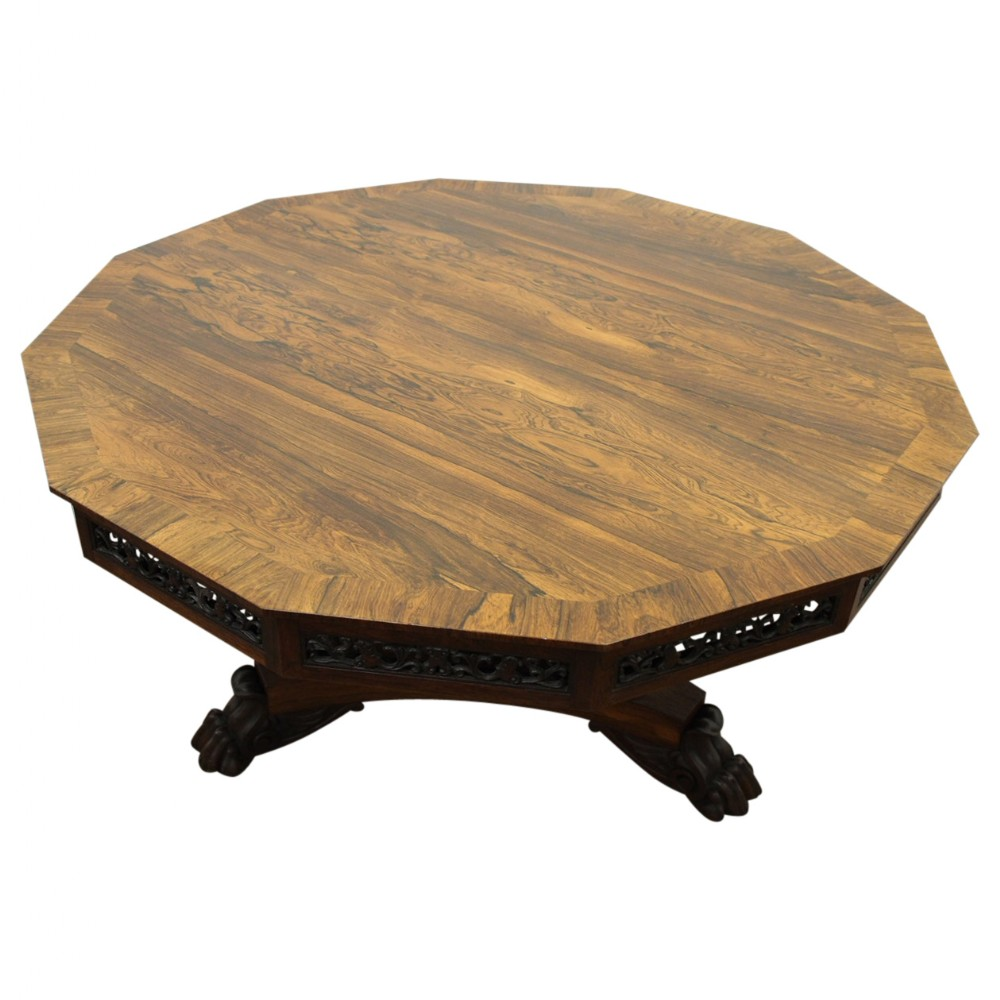 rare george iv british rosewood breakfast table with chinese panels