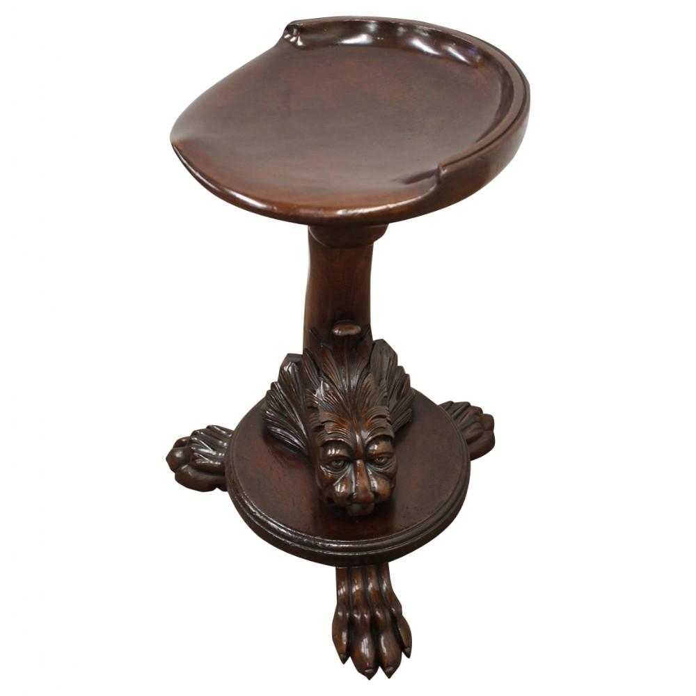 carved mahogany revolving grotto stool