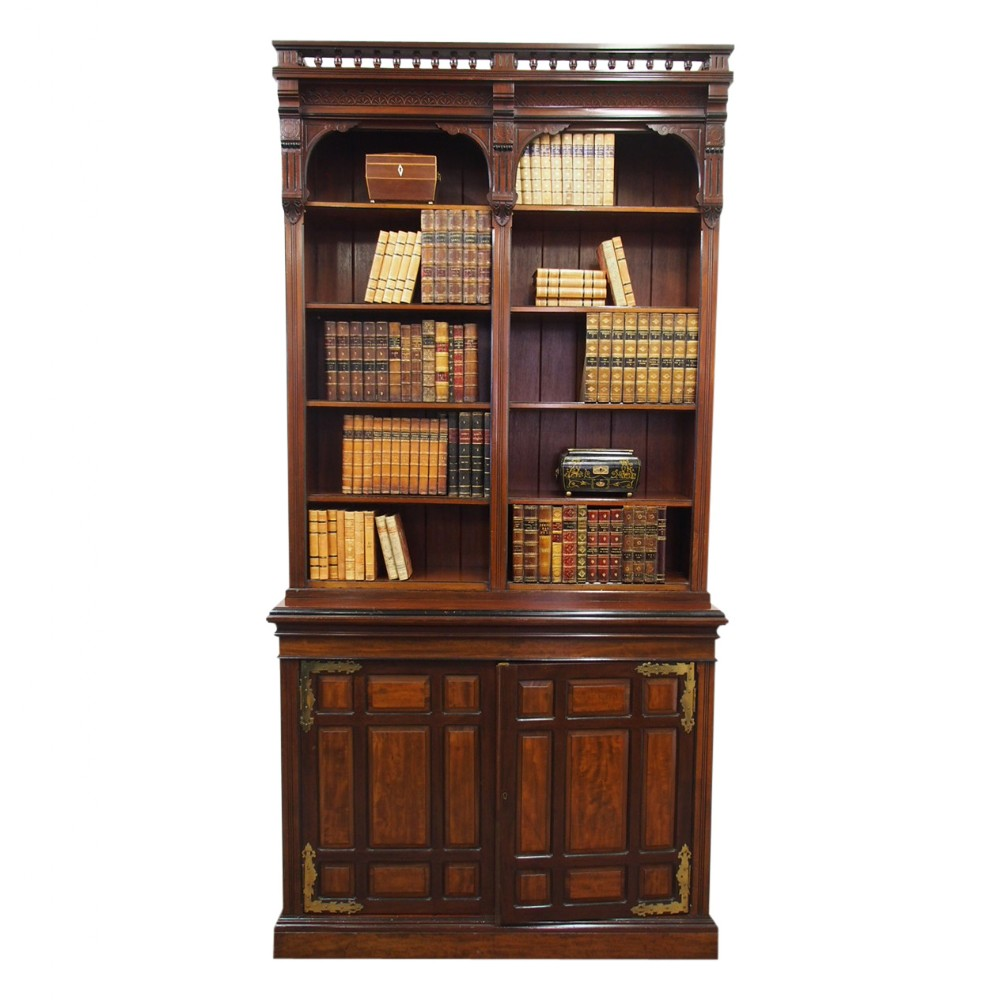 arts and crafts mahogany open bookcase by w walker and sons