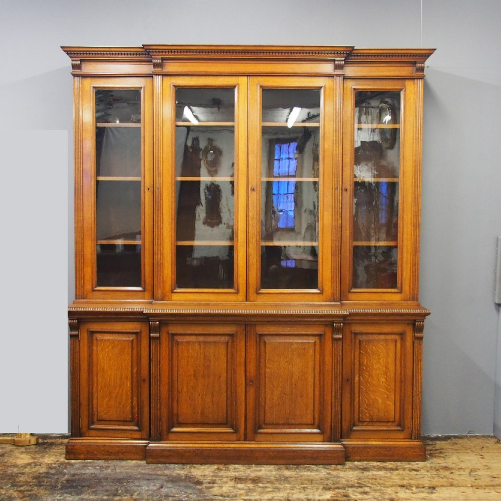 victorian oak 4 door breakfront bookcase