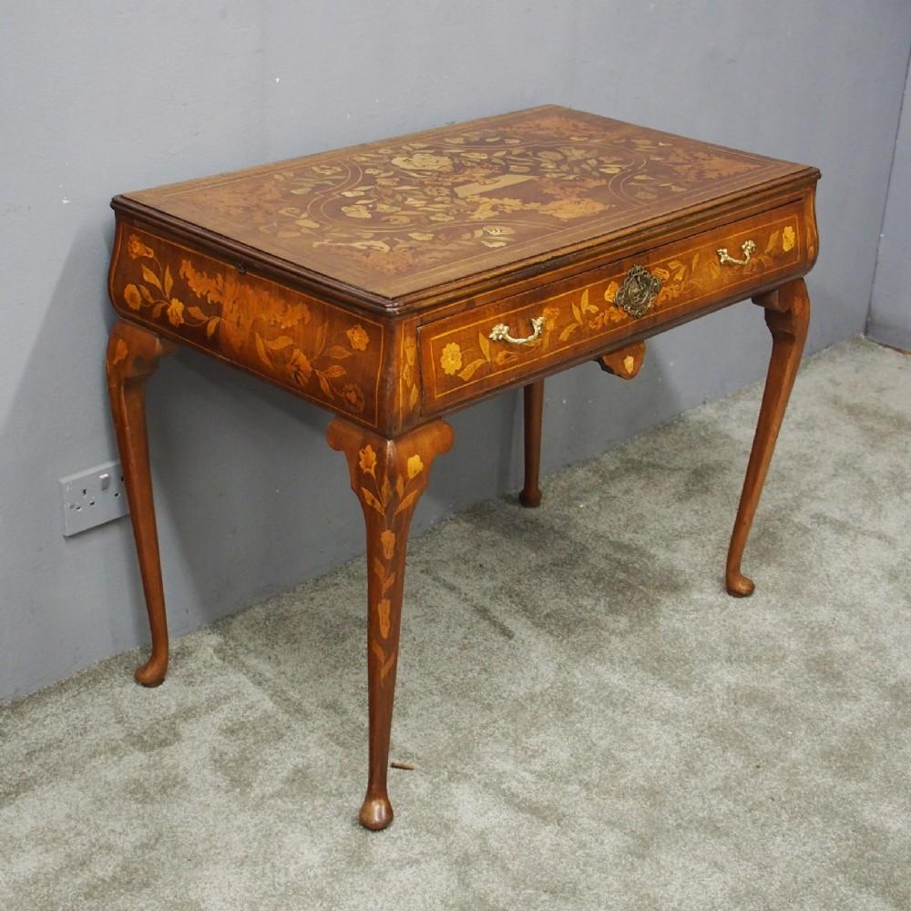dutch marquetry inlaid mahogany side table