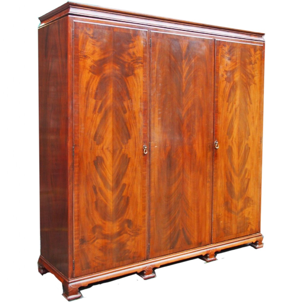 3 door mahogany wardrobe by whytock and reid