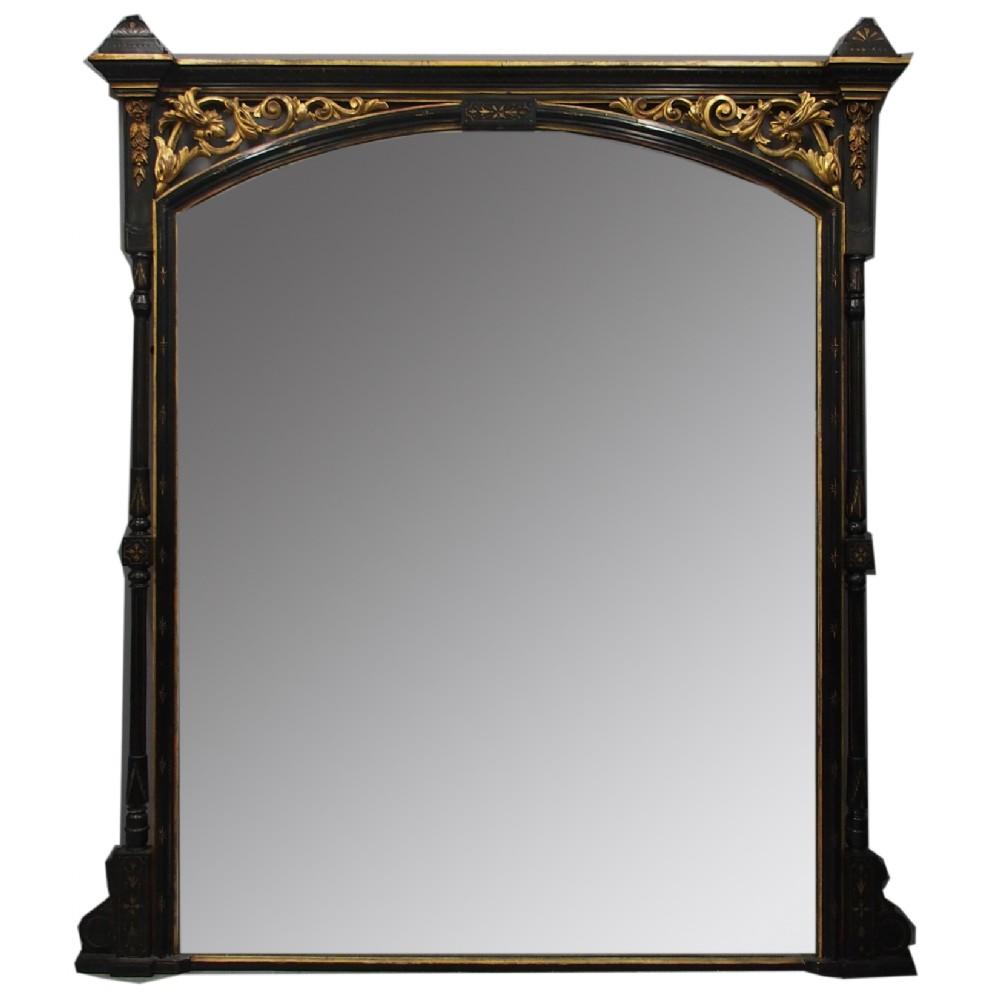 aesthetic movement style ebonized overmantel mirror