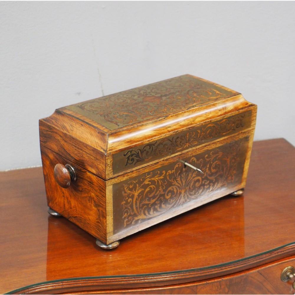 brass inlaid rosewood tea caddy