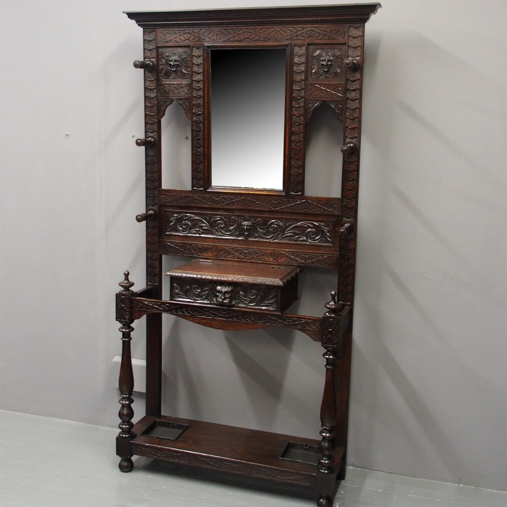 victorian flemish carved oak hall stand
