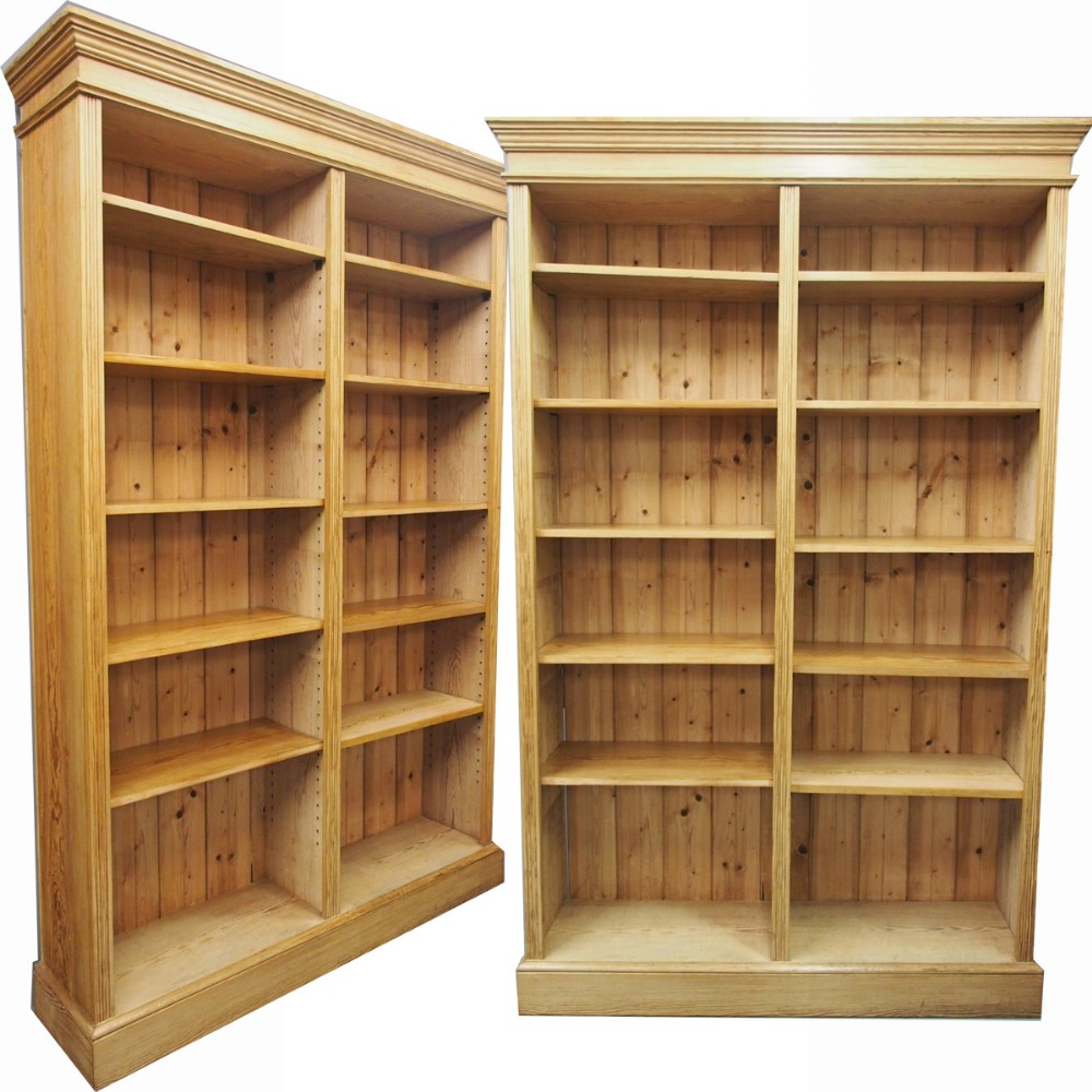 large pair of victorian pitch pine open bookcases