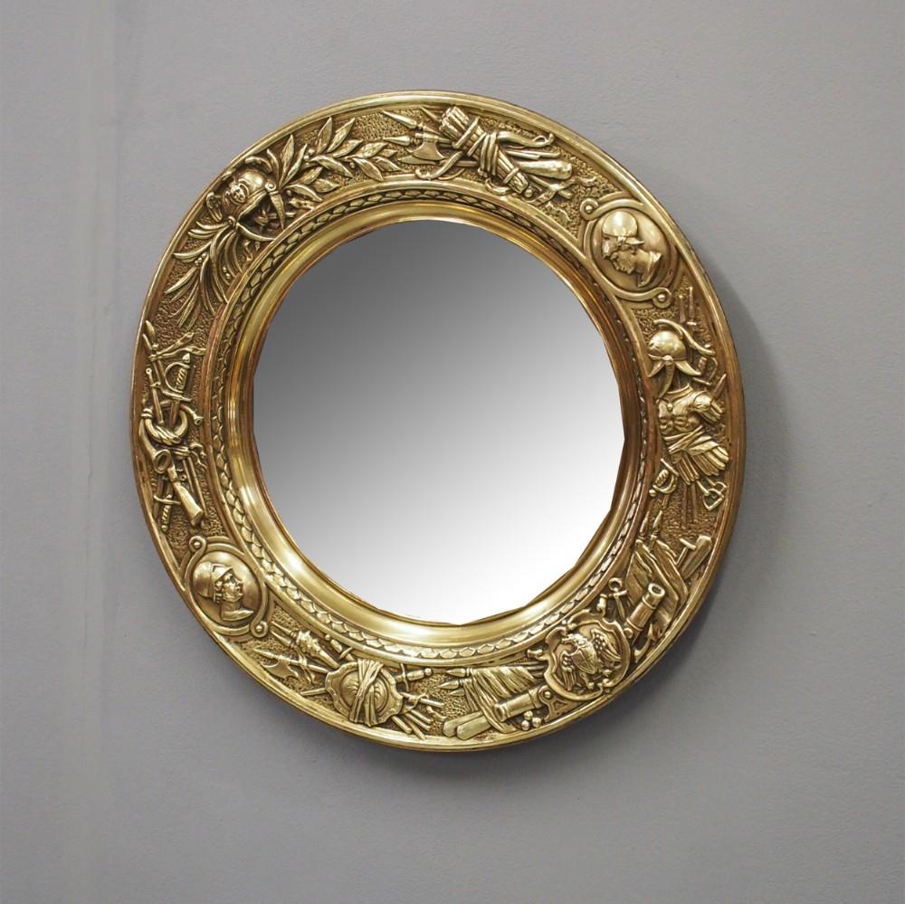 circular brass embossed wall mirror