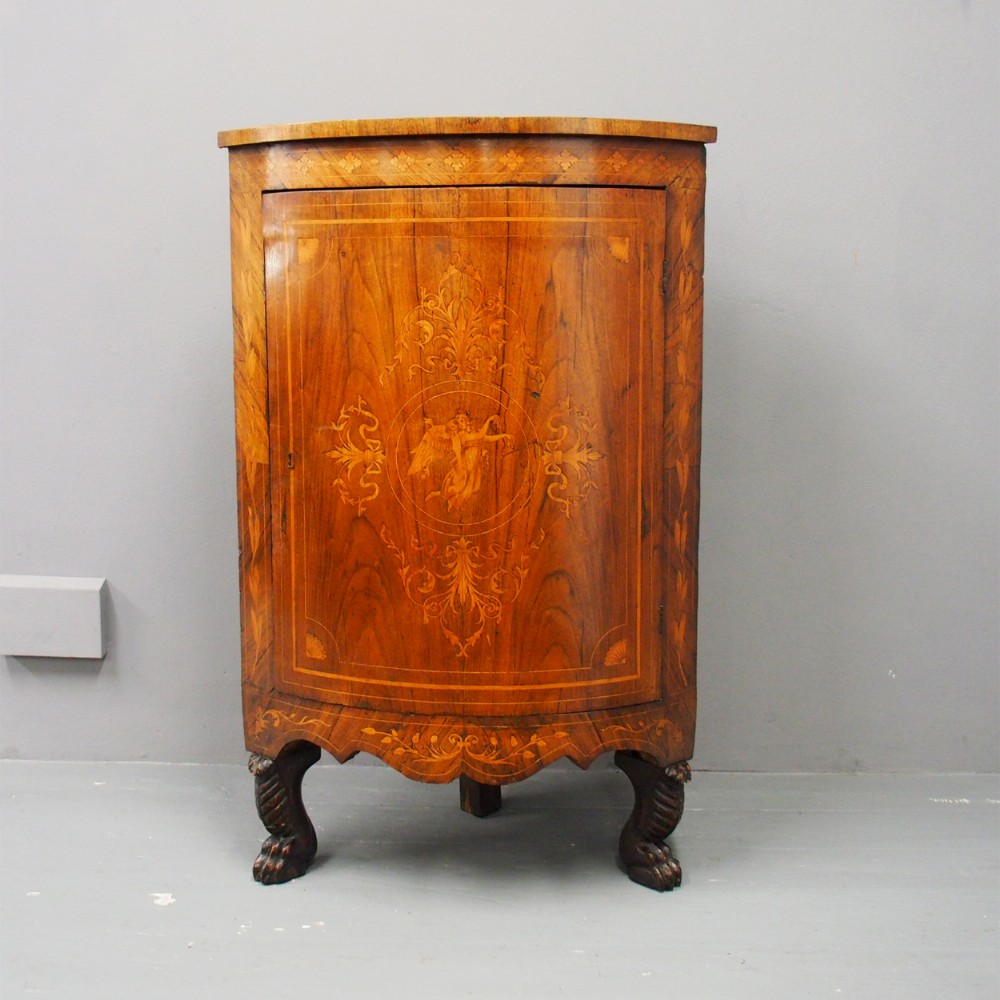 dutch walnut and marquetry floor standing corner cabinet