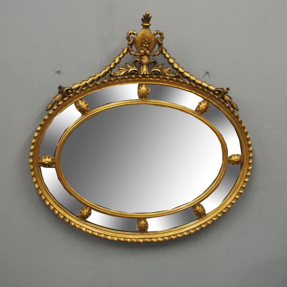 george iii style giltwood oval wall mirror