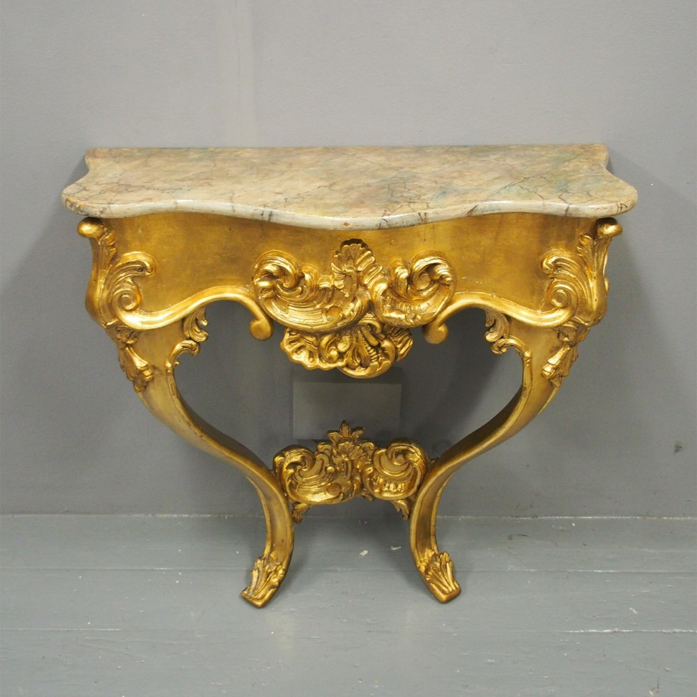 victorian giltwood and faux marble console table