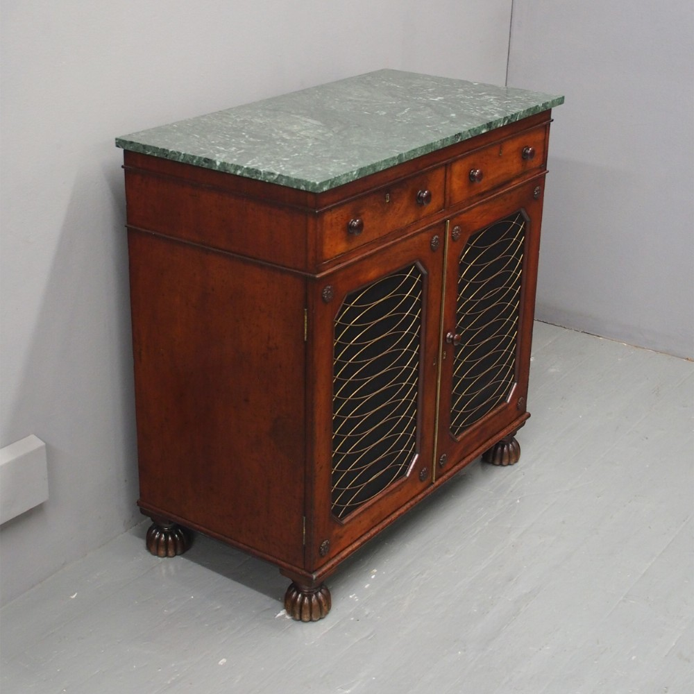regency mahogany and marble side cabinet