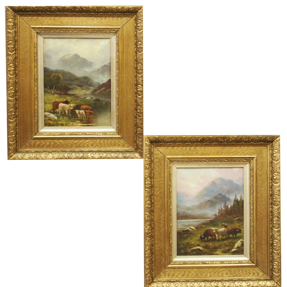 pair of oil paintings of highland cattle by a taylor