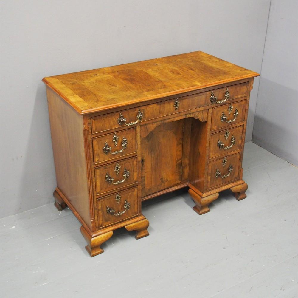 george ii style walnut kneehole desk