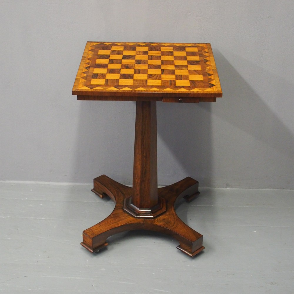 william iv rosewood and satinwood games table