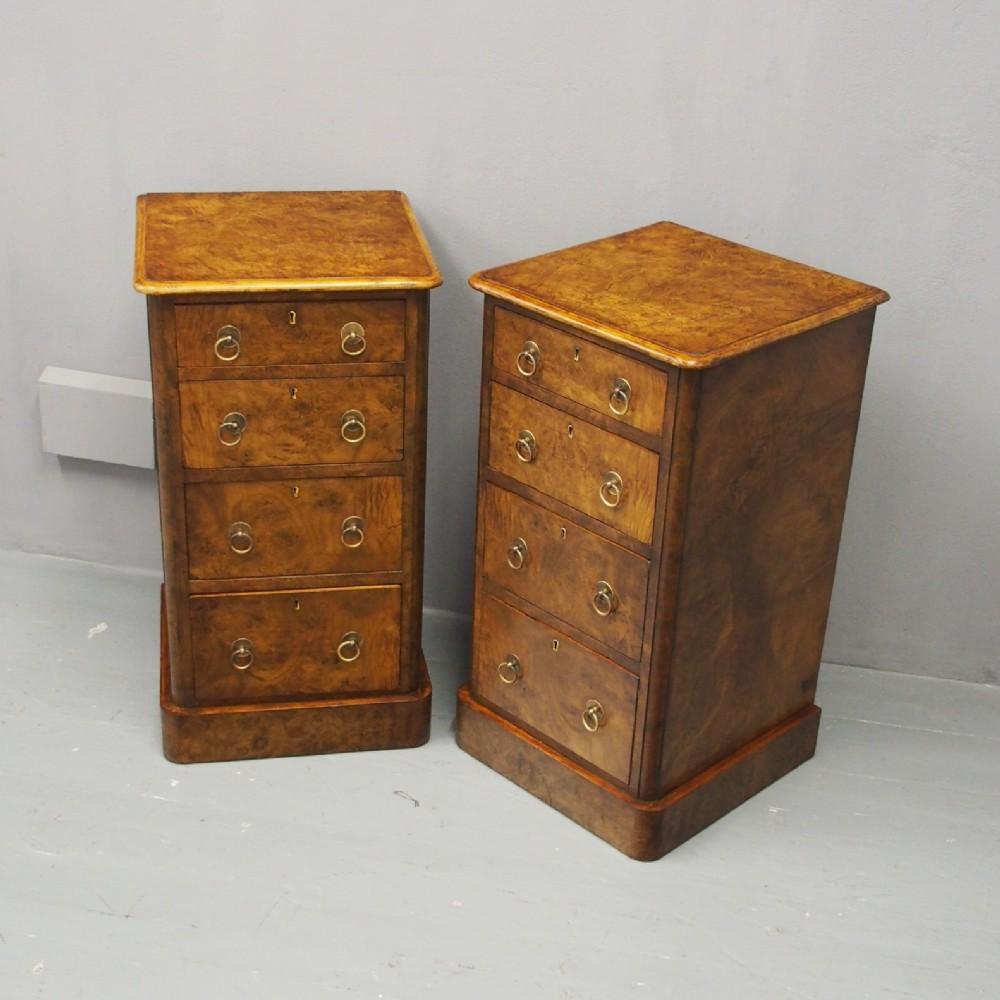 pair of victorian burr walnut bedsides