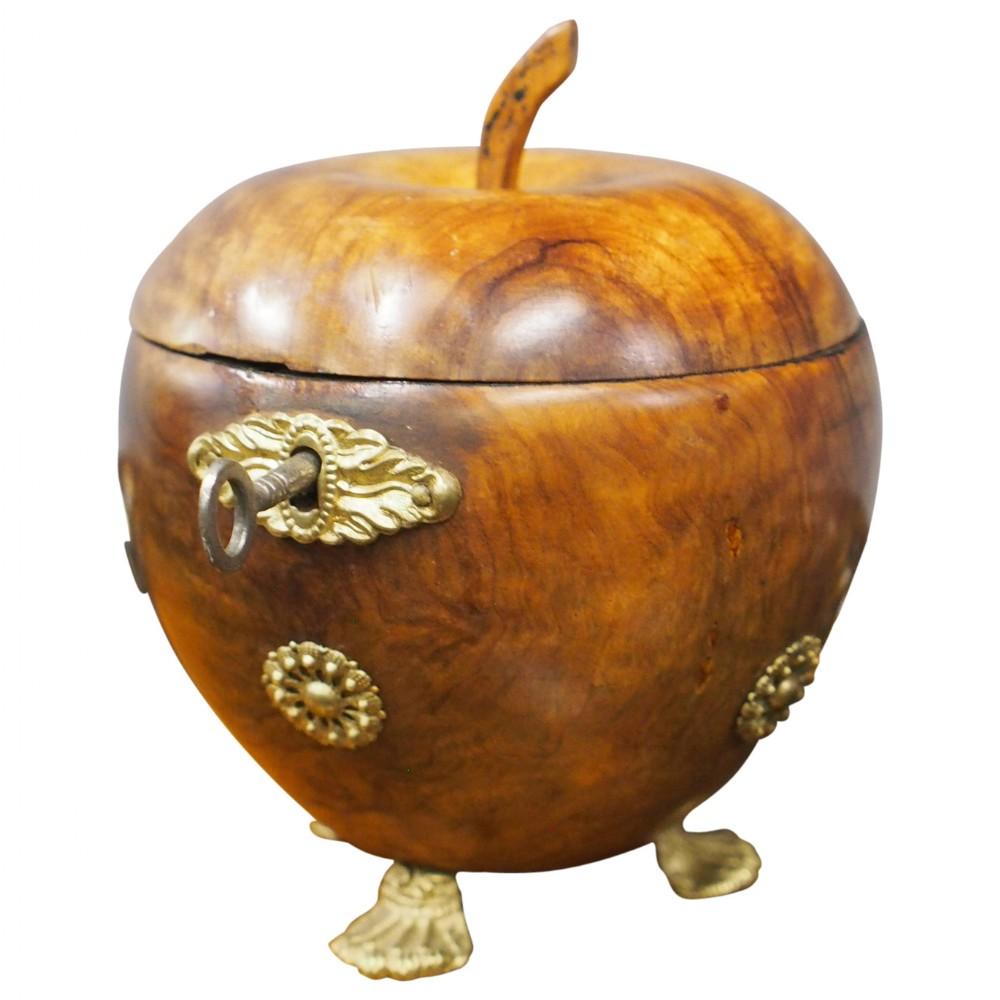 apple shaped fruitwood tea caddy