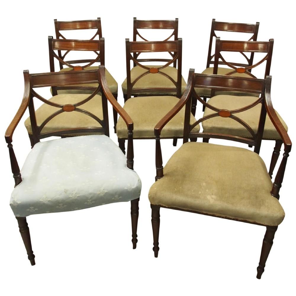 set of 8 regency mahogany dining chairs