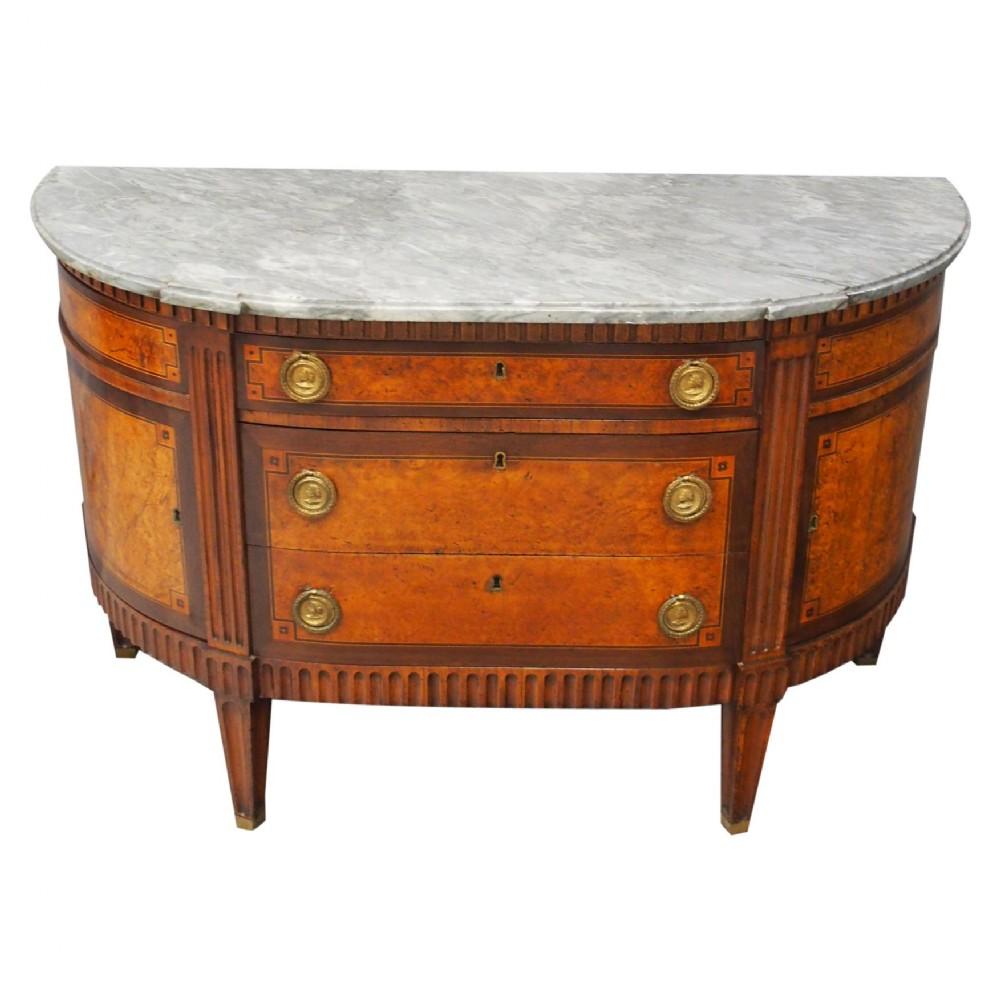 dutch marble top burr elm commode chest