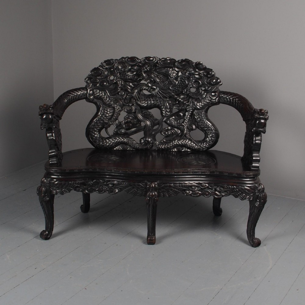 antique chinese carved hardwood hall bench