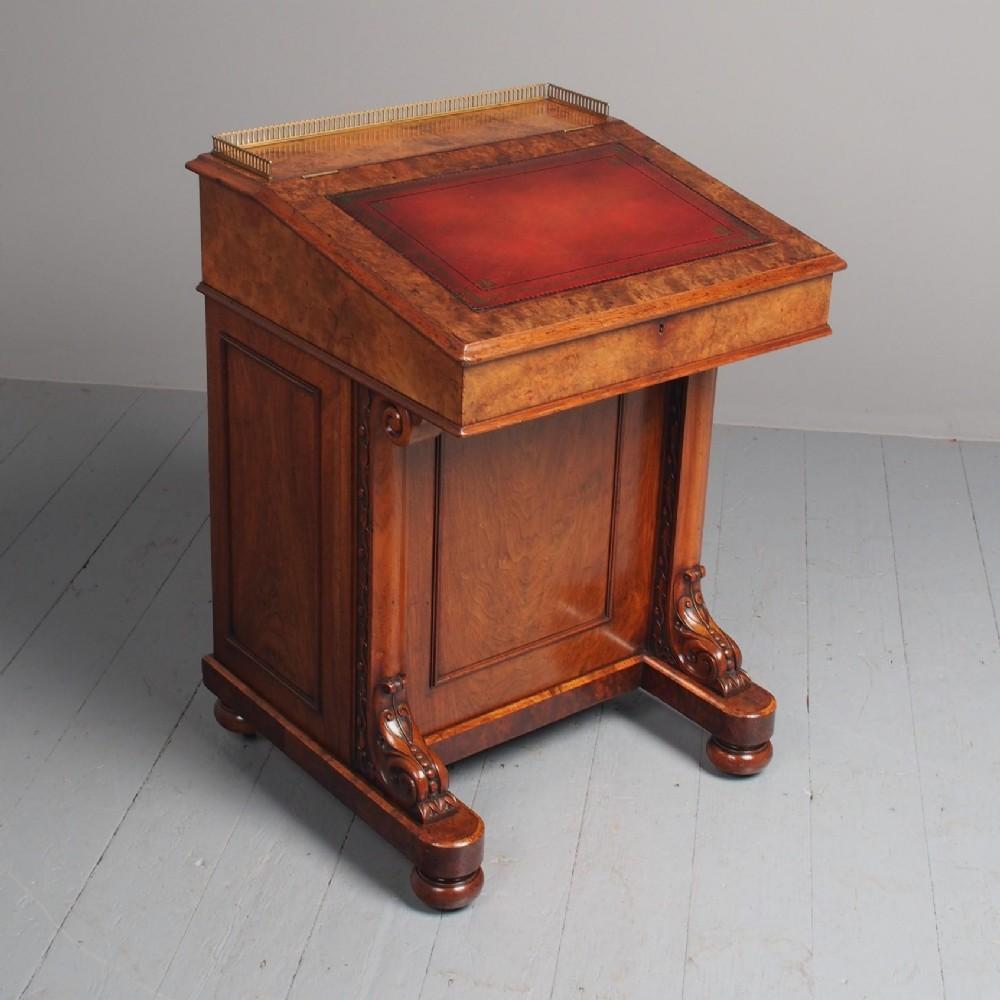 antique early victorian burr walnut davenport desk