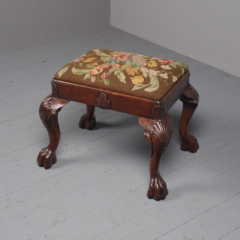 antique georgian style walnut foot stool