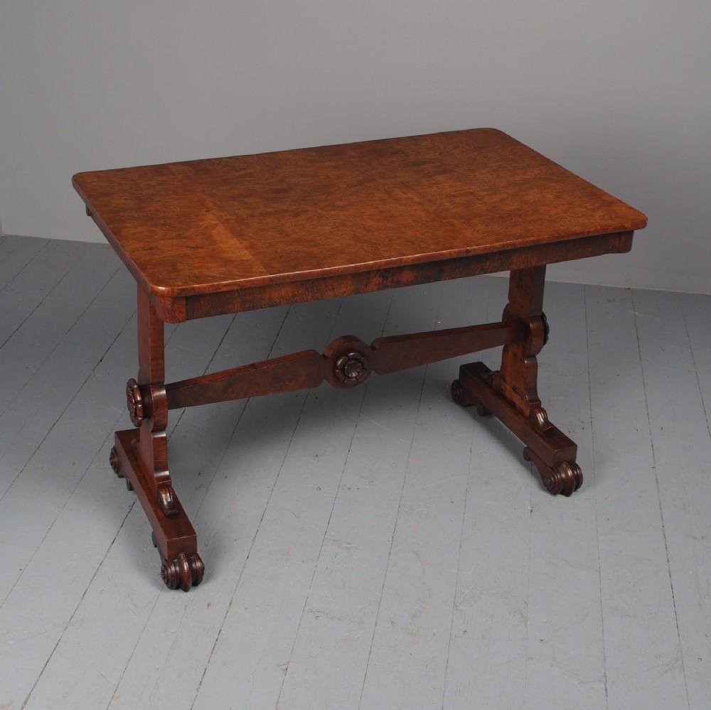antique george iv burr elm library table