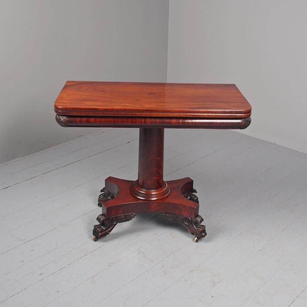 antique george iv mahogany foldover tea table