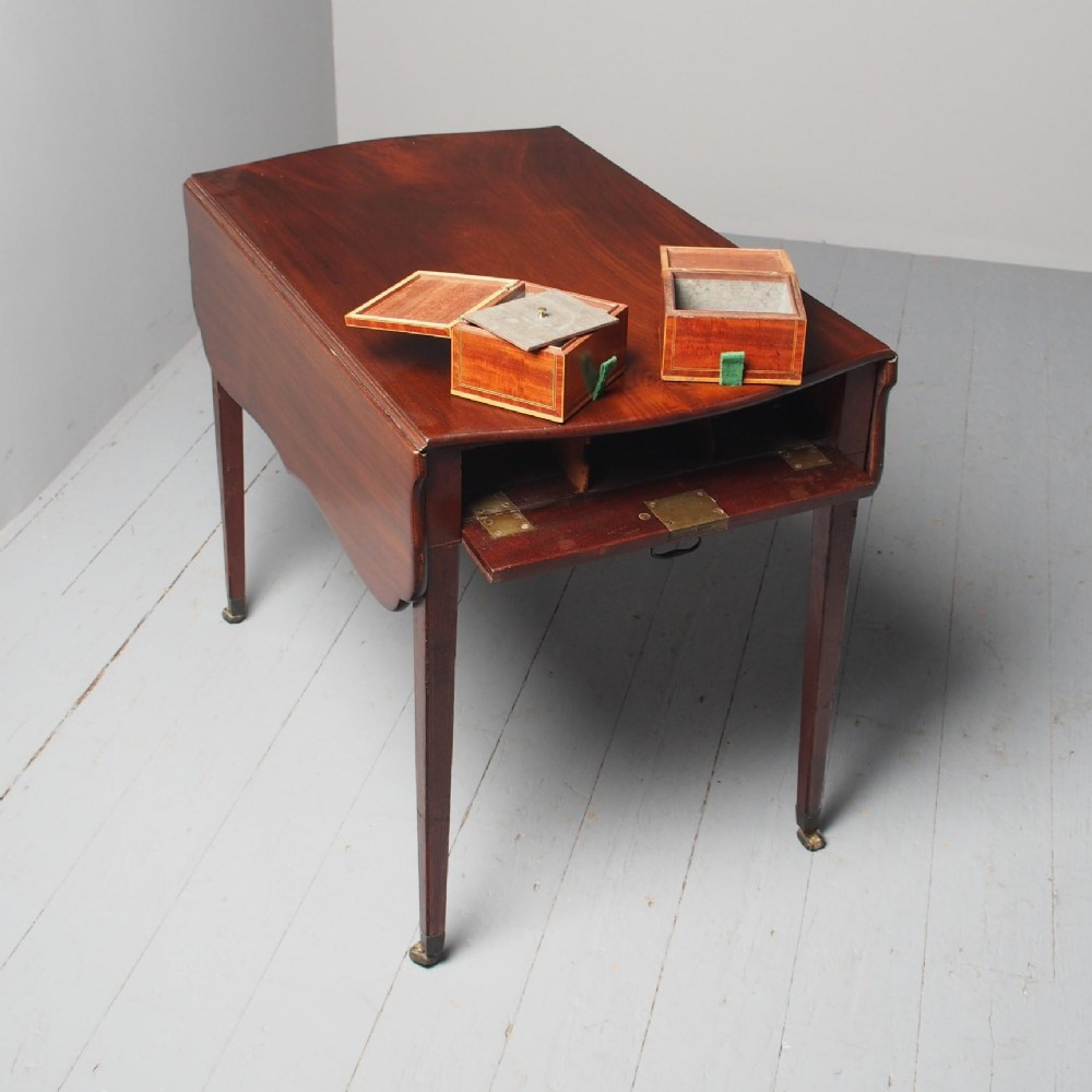 antique george iii mahogany pembroke tea caddy table